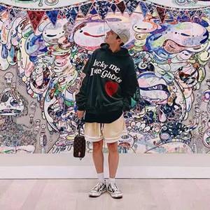 Осенью и зима Новый стиль Канье Печать Граффити Свитер с капюшоном Мужчины и Женщины Свободные Повседневные с капюшоном Плюс Флисовая куртка