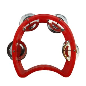 Kids Tambourine 4 Bell Plastic Cutaway Tambourine Half Blossom ,Mini ,Random Color ,2 Pack -Music