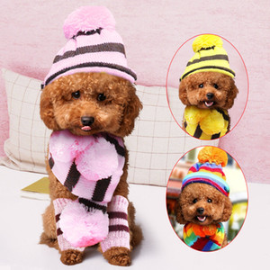 Winter Pet Dog Hat Scarf Sock Set Knitted Striped Hats with Warm Windproof Pet Hats Puppy Accessories For Small Medium Dogs Outdoor