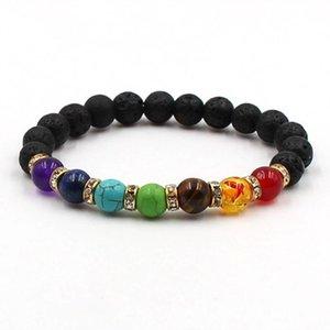 Stone Rock Men Drop Prayer Black For 7 Beads Lava Bracelet Shipping Chakra Women Balance Healing New Yoga Reiki tsetFnb whole2019