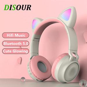 Bluetooth 5.0 Kopfhörer HiFi Musik Unterstützungs-TF-Kartenspiel mit HD MIC Wireless Game Netter Glow-Kopfhörer für Mädchen Kinder Alle Telefon