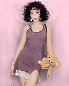 Halfter Sommer Solide Farbe Womens Designer Kleider Süße Kleidung Deep V-Neck Sleeveless Lace Kleider mit Pilzstickerei Retro