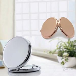6,5 cm Tragbare Spiegel Runde Formen Makeup Kosmetik Pocket Spiegel Mini Doppelseite Edelstahl Schönheit Zubehör Makeup Werkzeuge BH4291 WXM