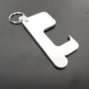Sublimación Llavero Germ Free Key cadena de manejar sin contacto de la puerta de madera en blanco llavero bricolaje anillos de llave de seguridad sin contacto Abrepuertas DHB2258