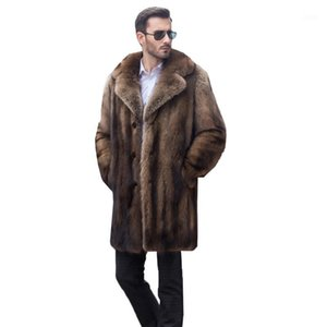 2020 new high quality mink imitation coat in mid-length casual high-end men's suit collar imitation fur coat YH6821