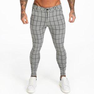 Gingtto Mens Chinos Брюки серый плед 2019 тощая подходит с высокой талией тощие брюки упругая талия лесопильные чиноросские брюки ZM3691