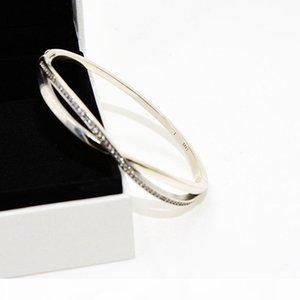 Wholesale- personality cross CZ diamond bracelet luxury designer jewelry for Pandora 925 sterling silver with box ladies bracelet
