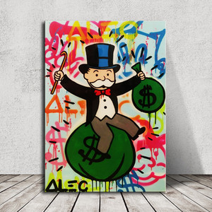 SIT ON MONEY Alec Monopoly Graffiti Home Decor Handpainted &HD Print Oil Painting On Canvas Wall Art Canvas Pictures 201008