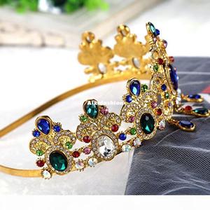 Western Wedding Hair Accessories Jewelry Handmade Green Red Pink Crystal Blue Rhinestone Crown And Tiara Bride Bridal Headband Headpieces