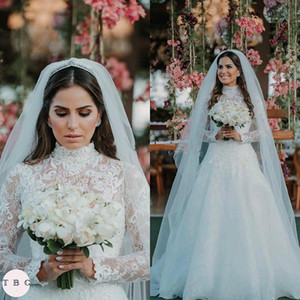 Princess Lace Wedding Dresses Muslim High Neck Long Sleeves Rustic Country Garden Wedding Dresses 2020 vestidos de novia