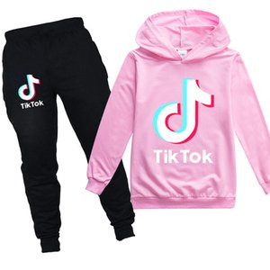 Youth Girls Tiktok Pullover Hoodies Tracksuits for Big Boys Tik Tok Sweat Pants and Sweatshirt Clothing Sets
