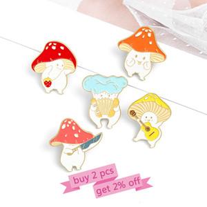 Mushroom Enamel Custom Funny Guitar Accordion Brooches Bag Lapel Cartoon Cute Badge Plant Gift Kids Friends