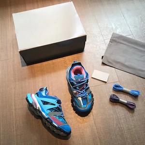 Designer pista degli uomini di 3,0 Sneakers in pelle 100% non Formatori Donne mesh nylon stampato in rilievo Track Shoes Air pattini casuali della piattaforma con la scatola