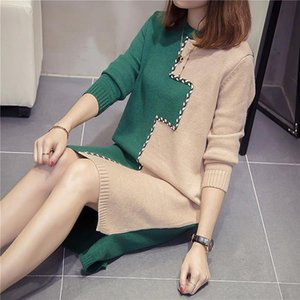 SuperAen Medium Length Autumn Winter 2020 New O Neck Loose Color Matching Dress Pullover Bottoming Sweater for Women