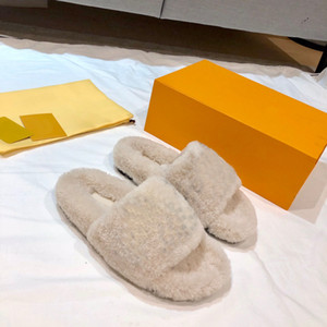 2020 Luxusdesign Frauen Winterwolle Shearling Bom Dima Flache Maultier Sandale Damen Slide Trittgummi-Außensohle Größe 35-46 mit Box