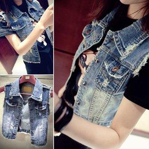 Nuevos jeans para mujer retro lavado Chaleco de mezclilla chaleco chaleco sin mangas de la chaqueta Cardigan personalizada Moda 2021 Spring Summer Style 58