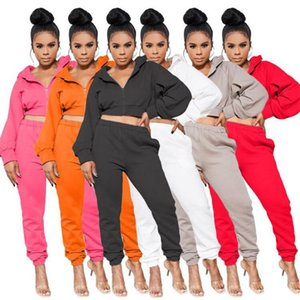 Women Two Piece Jogging Suits Casual Long Sleeve Zip Hooded Women Tracksuits New Womens Designers Clothes