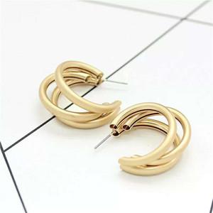 إسقاط أقراط الذهب معدن للمرأة البخار فاسق جولة كبيرة تصميم هوب أقراط الهندسية مجوهرات 2020 الجديدة