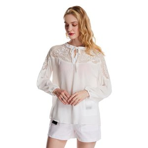 Women Sexy V-Neck Shirt Ladies Casual Lace Mesh Patchwork Long Sleeve Shirts Ruched Blouse Loose Casual Streetwear For Femme