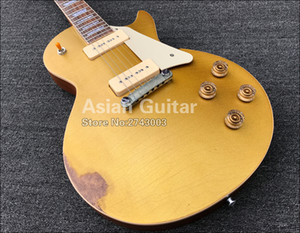 Custom Shop Heavy Relic Gold Top Goldtop Electric Guitar One Piece Mahogany Body & Neck, P-90 Pickups, Wrap Around Tailpiece, Grover Tuners