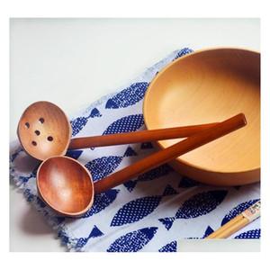 2 Стили Вудтелл Суп Ложка Ложка Древесина Woodware Японский стиль Ramen Деревянная Длинная Ручка Горячая Qyladi Five2010