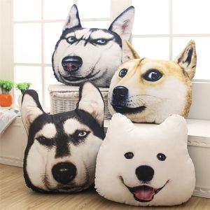 New Hot 3D 38cm*35cm Samoyed Husky Dog Plush Toys Dolls Stuffed Animal Pillow Sofa Car Decorative Creative Birthday Gift C18112201