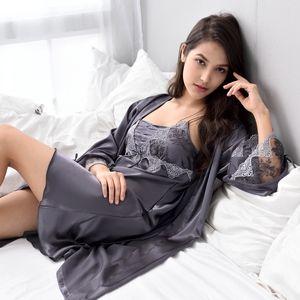 Xifenni Robe Sets Female Sexy Satin Silk Sleepwear Women Lace Embroidery Faux Silk Sleeping Gown Two-Piece Bathrobes X9223 210203