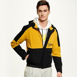 Yama Tasarım Kapşonlu Ceket Erkekler Streetwear WINDBREAKER Sonbahar Kargo Bombacı Ceket Rüzgar Direnci Casual Palto Erkek Giyim