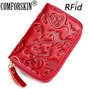 COMFORSKIN 100% Cowhide Leather RFID Protection Card Wallet 2020 New Arrivals Stylish Embossing ID Holders