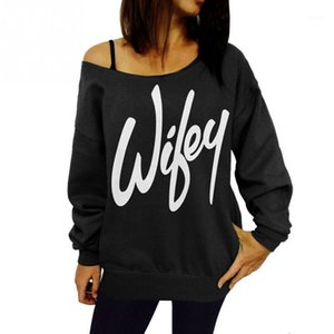 Wholesale- Hoddies Sweatshirts Women 2016 New Print Wifey Hoodies Sweatshirt Off the Shoulder Tops Tee1