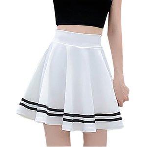 Moda Mujeres Sólido Uniforme A Línea Anti-Burnut Cintura Alta Falda Corta Faldas Para Mujeres Q1229