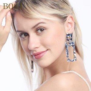 Boucles d'oreilles acryliques Boho Acétate 2020 Femmes Drop Boucles d'oreilles Mode Big Long Bijoux Bohemian Dangle Accessoires Visage géométrique