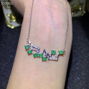 Natural green emerald necklace Pendant S925 silver natural gemstone necklace grace syllable Musical woman girl gift jewelry