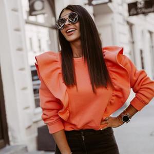 Stylish Women Ruffles Sweatshirt Casual O Neck Solid Color Pullovers Long Sleeve Blouse Plus Size Fashion Tops Street Wear