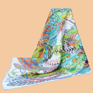 "HuaJun 2 Store||It is very suitable for the seaside ""Plumes en Fete"" 90 silk square scarf Twill inkjet scarf handmade curling"