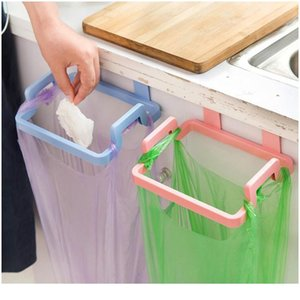 Kitchen Plastic Garbage Bag Rack Holder Cupboard Door Back Hanging Trash Rubbish Bag Storage Shelf Tools Drop bbyOjz