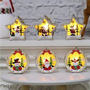 Wooden Luminous Pendants Wooden Star Round Frame Lamp Luminous Christmas Tree Ornament Hanging Pendant Ornaments Party Decoration GH915
