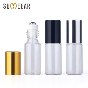 50pieces lot 5ml Essential Oil Bottle Glass Roll on Perfume For Oils Empty Cosmetic Case With roller bottles