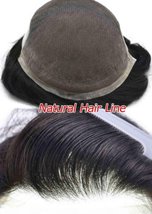 AOHAI Non Surgical Permanent French Lace Front Mens Toupee, human hair Best Bonded Real Natural Lace Hair Replacement System for Men