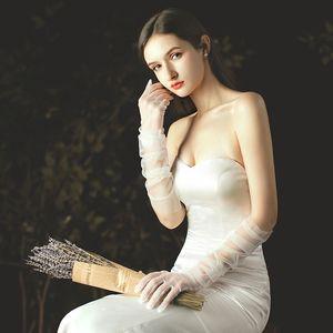 70CM long DIY tulle plain bridal dress black white red gloves