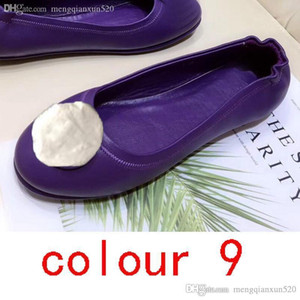 whole Hot sale Ballet shoes Genuine soft Leather Lazy Lady Dress shoes Metal buckle Classic women Sheepskin Flat boat shoes Large size 35-42