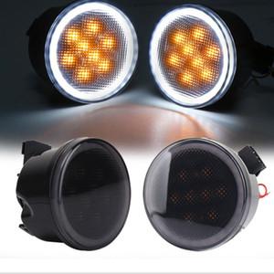 2 Pcs DC12V Front Turn Signal Light Fender Side Light Combo Lens for Wrangler LED 2000K for Wrangler JK 2007-2020