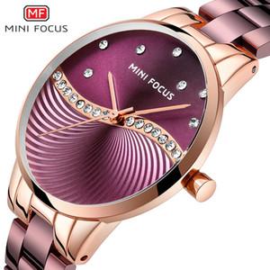 MINI FOCUS Famous Brand Authentic Fashion Stahlband-Uhr Japanische Bewegungs-Diamant-Embedded Wasserdicht Frauen Handuhr 0263l