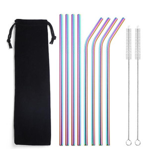 10pcs 215mm Stainless Steel Straws Reusable Metal Drinking Straws with Brush Bar Party Accessories