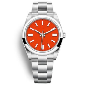 패션 시계 자동 기계 캐주얼 남성 시계 41mm 레드 핑크 숙 녀 드레스 파티 시계 팔찌 여성 선물