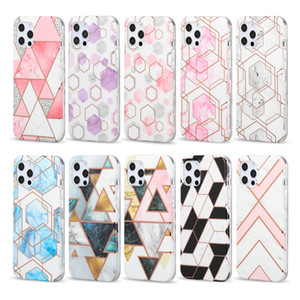 1.8mm Shiny Rose Gold Wave Geometric Marble Bags Bumper Silicone Protective Phone Case Cover for iPhone 12 11 Pro XS Max