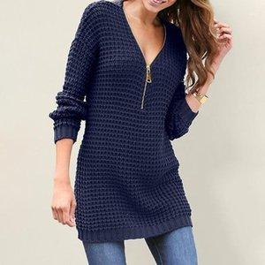 Womens Print Slim V-Neck Sweater Winter Warm Zipper Bodycon Knitted Dress New1