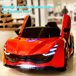 Coche eléctrico en las cuatro ruedas de doble rueda de goma Drive asiento cuero de los niños 2,4 G Bluetooth coche teledirigido para Niños Ride On