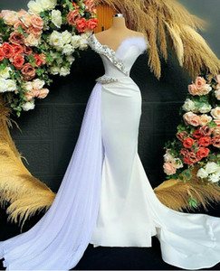 White Arabic Crystal Evening Dresses With Long Train Mermaid Prom Dress Custom Size Robe De Soiree