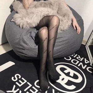 2021 Marques de luxe Sexy Fashion Qualité Poisson Lettres Lettres Collants Haute Flexibles Pantyhose Transparent Pantyhose Femme Print Bas